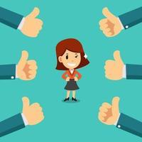 vecteur, dessin animé, heureux, femme affaires, à, beaucoup, pouces haut, mains vecteur