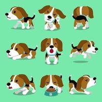 Poses de chien beagle de personnage de dessin animé vecteur