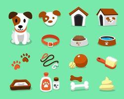 personnage de dessin animé jack russell terrier chien et accessoires ensemble vecteur