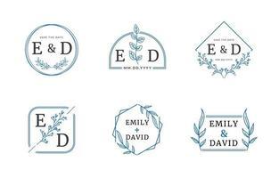 collection de logo monogramme de mariage vecteur