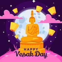 Statue de Bouddha en méditation au clair de lune vecteur