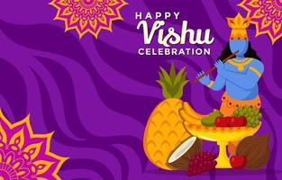 Vishnu jouant de la flûte près des offrandes de fruits fond vishu vecteur
