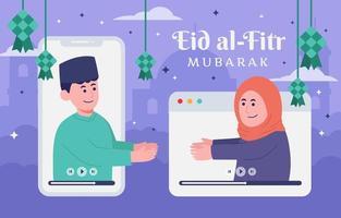 eid mubarak en ligne avec des amis vecteur