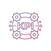 Icône de vecteur kpi sur blanc, conception de ligne