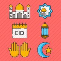 collection d'icônes eid mubarak vecteur