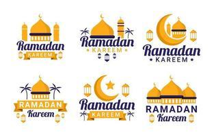 collection de badges plats ramadan kareem vecteur