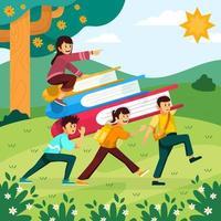 le travail d & # 39; équipe des enfants porte ensemble le concept de livre géant vecteur