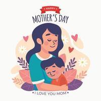 concept de fête des mères avec mère étreignant son fils vecteur
