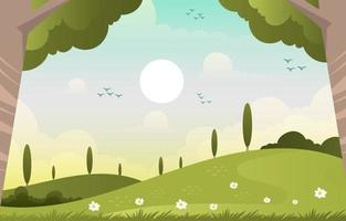 beau paysage de printemps nature vecteur