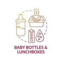 icône de concept de biberons et boîtes à lunch vecteur