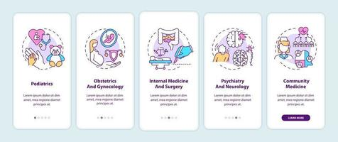 Écran de la page de l'application mobile d'intégration des composants de médecine familiale avec des concepts vecteur