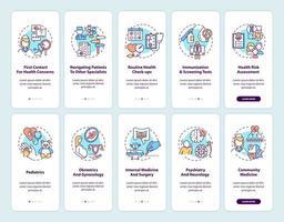 Écran de la page de l'application mobile d'intégration du médecin de famille avec ensemble de concepts vecteur
