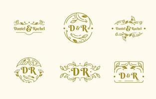 monogramme de mariage élégant vecteur