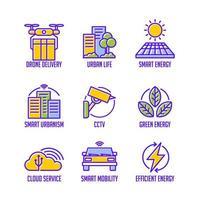jeu d'icônes de concept de ville intelligente vecteur