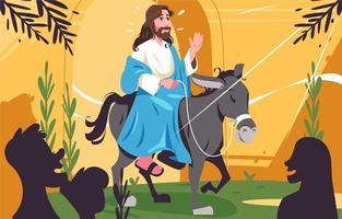 illustration de fête du dimanche des palmiers avec jésus chevauchant un âne vecteur