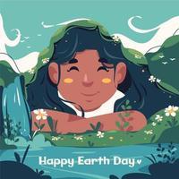 illustration de sensibilisation de la journée de la terre avec enfant souriant vecteur