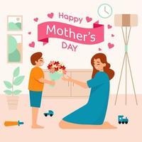 garçon donne des fleurs à sa mère vecteur