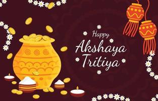 heureux akshaya tritiya fond, fête religieuse de l'inde célébration vecteur