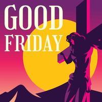 bon vendredi silhouette de jésus vecteur
