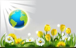fond de jour de la terre avec des fleurs vecteur