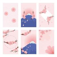 carte de fleur de cerisier vecteur