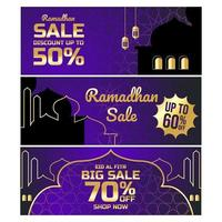 bannière de vente ramadhan vecteur