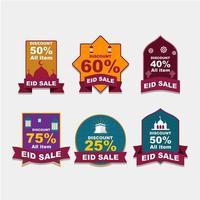étiquette de vente eid avec un design coloré vecteur