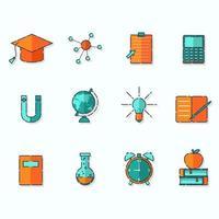 jeu d'icônes de l'éducation vecteur