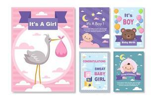 collection de cartes de naissance bébé vecteur