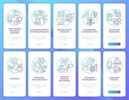 Écran de page de l'application mobile d'intégration de la marine du médecin de famille avec ensemble de concepts vecteur