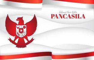 Pancasila avec drapeau indonésien et oiseau mythique garuda vecteur