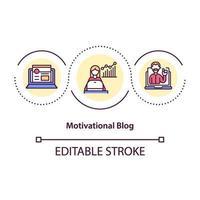 icône de concept de blog de motivation vecteur
