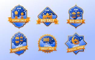 eid day marketing promotion élégant ensemble de conception d'étiquettes vecteur