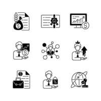 ensemble d & # 39; icônes linéaire noir conseiller financier vecteur