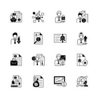 jeu d & # 39; icônes linéaires noires de service de courtier vecteur