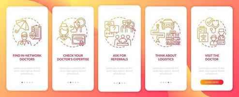 choisir des conseils de médecin de soins primaires écran de la page de l'application mobile d'intégration rouge avec des concepts vecteur