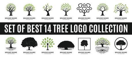 ensemble des meilleures collections de logo d'arbre vecteur