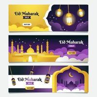 collection de bannières eid mubarak vecteur