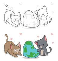 Page de coloriage de dessin animé mignon chat et carte du monde en forme de coeur pour les enfants vecteur