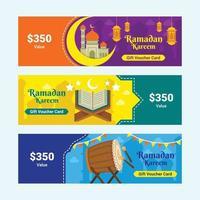 ensemble de bons de ramadan kareem vecteur