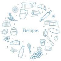 trucs de cuisine dessinés à la main, produits laitiers et de boulangerie, légumes, ingrédients alimentaires. modèle de livre de recettes, icônes de menu de restaurant, concept de cadre de bannière shavuot. vecteur