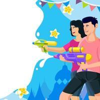 fond de songkran avec couple tirant un pistolet à eau vecteur