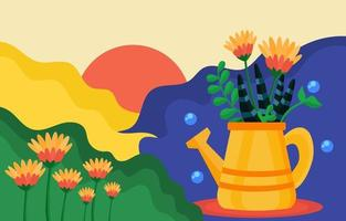 jardinage à la maison avec concept contemporain abstrait vecteur