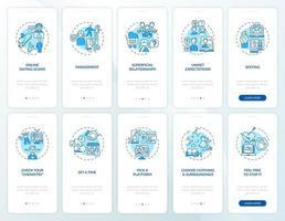 Écran de la page de l'application mobile d'intégration des escroqueries de rencontres en ligne avec des concepts vecteur