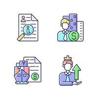 jeu d & # 39; icônes de couleur rgb de courtage vecteur