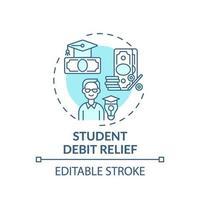 icône de concept de réduction de la dette étudiante vecteur