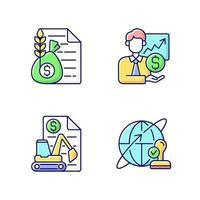 jeu d & # 39; icônes de couleur rgb de services intermédiaires vecteur