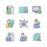 ensemble d & # 39; icônes de couleur rvb conseiller financier vecteur