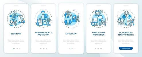 types de services juridiques écran de la page de l'application mobile d'intégration avec des concepts vecteur