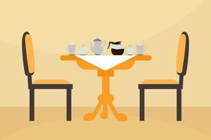 illustration de table de petit déjeuner avec café et lait vecteur